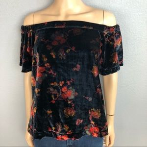 Ann Taylor Loft Velvet Off the Shoulder Blouse